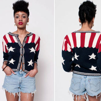 American Flag Button Up Sweater by rumors on Etsy