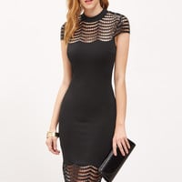 Black Sequin Crochet Shoulder And Hem Pencil Dress