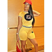 Fendi Summer Fashion New Sequin Letter Sports Leisure Personality Two Piece Suit Top And Shorts Women Yellow