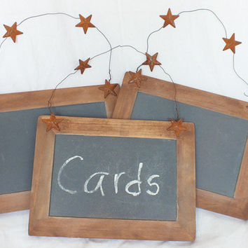 Chalkboard Signs With Rusty Tin Stars - Set Of Three- Barn Wedding, Rustic Wedding, Burlap Wedding Decor