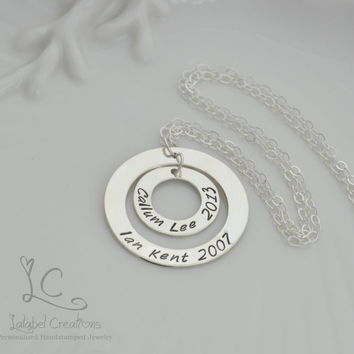 Hand Stamped Nestled Washer Necklace, Personalized Jewelry, Sterling Silver Hand Stamped Jewelry, Necklace for Mom, Personalized Gifts