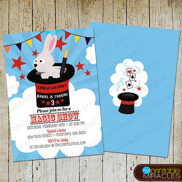 Magic show birthday invitation, kids magic show invitation, Magic party, Blue red magic birthday, Print at home magician party invite card