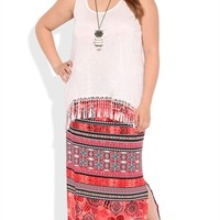 Plus Size Tribal Print Maxi Skirt with Side Slit