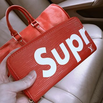 """Louis Vutitton LV×Supreme"" Fashion Women Logo Letter Rectangle Wallet Hand Bag Purse"