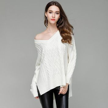 Knit Hot Sale Women's Fashion Pullover Ladies Sweater Sexy V-neck Bottoming Shirt [188222767130]