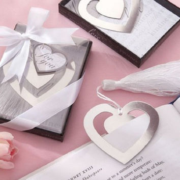 Freeshipping heart bookmark for wedding decoration wedding baptism favors and gift for wedding party baby show