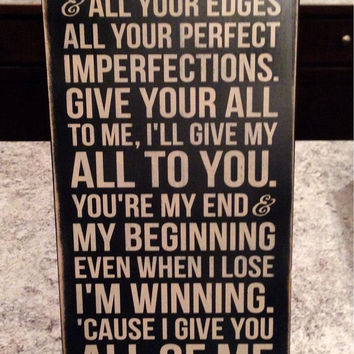 "John Legend Song ""All of Me"" - Distressed Wood Sign"