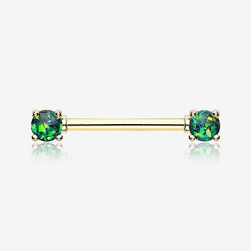 A Pair of Golden Opal Sparkle Prong Nipple Barbell Ring