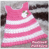 Crochet baby dress pattern, crochet baby clothing pattern, crochet girl dress pattern, 0-4 years sizes dress pattern, How to make baby dress