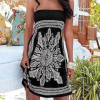 Black strapless print dress