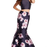 Alyce 60178 Two Piece Floral Print Dress with Trumpet Skirt- Navy Print