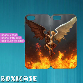 Angel And Devil---iphone 4 case,iphone 5 case,ipod touch 4 case,ipod touch 5 case,in plastic,silicone and black,white.