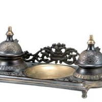One Kings Lane - Accents We Love - Barreveld Antiqued Brass Double Ink Well