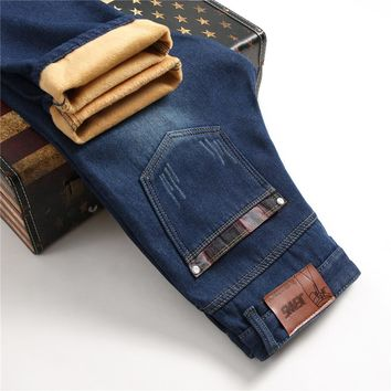 7447c977828 Dropshipping Mens Winter Stretch Thick Velvet Jeans Long Warm Jeans Fleece  Lined Denim Jenas Male Pants