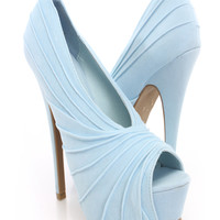 Light Blue Pleated Peep Toe Platform Heels Faux