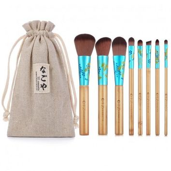 8pcs Makeup Brushes Professional Blending Contour Eyebrow Foundation Powder Cosmetic Brush Set With Pouch