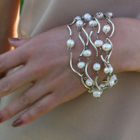 FREE Shipping. Female bracelet made of freshwater pearls and silver wavy tubes, clasp in the form of rose Romantic elegant jewelry for woman