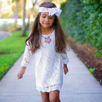 2017 Hot Summer Kids Baby Girls Princess Cute Flower Lace Tutu Formal Children Dress Casual Long Sleeve Mini 2-11Y