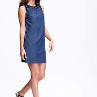 Women's Embroidered-Accent Chambray Shift Dresses