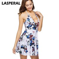 LASPERAL Summer Sexy Dress Women deep-v Neck Halter Backless Sundress Female Beachwear Fashion Flower Printed Dress Vestidos