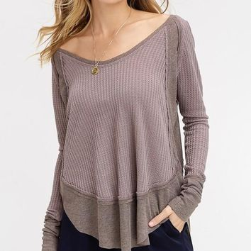 More Than Ever Waffle Thermal Top (Mocha)