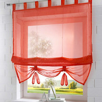 Solid Color Tab Top Kitchen Balcony Voile Roman Blinds Liftable Curtain 1pc