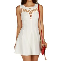 White Flare Out Skater Dress