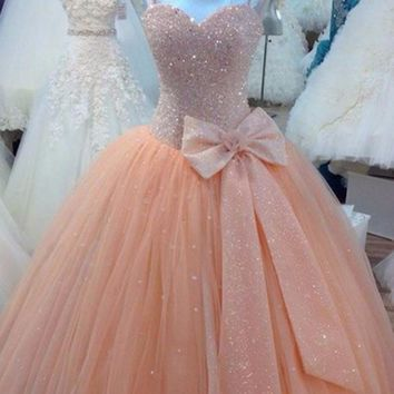 Tulle Beaded Ball Gown Prom Dresses Sweet  Long Prom Dress Formal  Party  vestido de festa  dress for graduation Big Bow