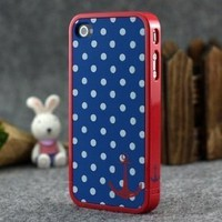 Blue and White Polka Dot Pattern Hard Case with Red Trim and Anchor Design for Apple Iphone 4s / 4 (At&t, Verizon, Sprint)