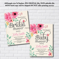 floral baby girl shower , watercolor floral shower, Baby Shower Invitation, Bridal shower, floral flower, shabby chic  - card 1070