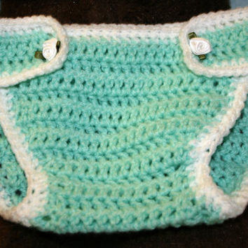 Crochet baby diaper nappy cover crochetyknitsnbits quality hand made baby girl clothes aqua white layette baby shower gift 6 to 12 months