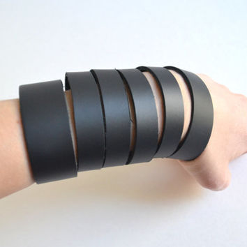 Hand Cut Leather Cuff Bracelet - Black Leather Cuff - Leather Cuff Bracelet