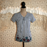 Retro Summer Top Gingham Smock Puff Sleeves Hipster Grunge Small Cotton Black White Peasant Tunic Pockets 80s 90s Vintage Womens Clothing