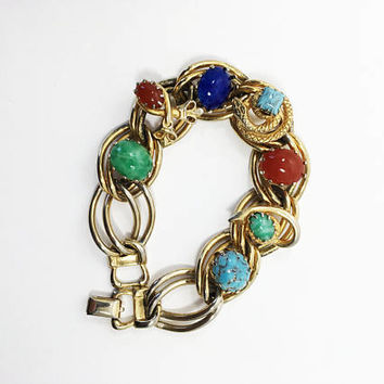 Vintage 1950s Multi Stone Gold Tone Large Double Link Bracelet, Faux Gemstone Jewelry, Mid Century Chunky Revival Piece