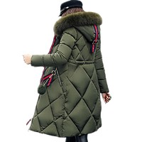women Designer style long insulated fur hoodie winter coat