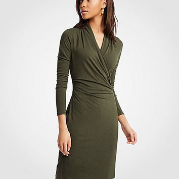 Petite Faux Wrap Knit Dress | Ann Taylor