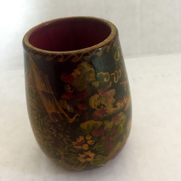 Russian Boho Lacquer Cup - hand-painted cup - 70s vintage cup - home decor - vintage Khokholma - bohemian wood cup - russian folk art