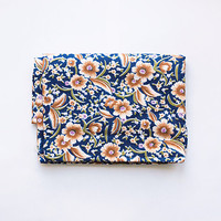 "Vintage floral cotton fabric 2.67 yards (96""/2,45 m) in 1 listing, 80s USSR, navy blue and brown white rustic mille fleur pattern"