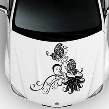 Car Hood Vinyl Decal Graphics Stickers Art Floral ornament with Butterfly KJ1539