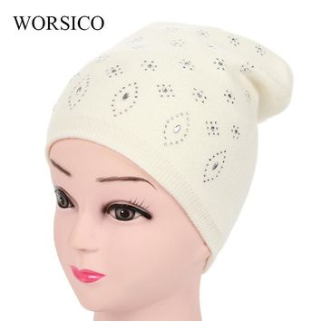 2017 Winter Hats For Women Girls Skullies Beanies Wool Elastic Knitted Warm Thick Mask Ski Cap Female Double Layer Hat Soft