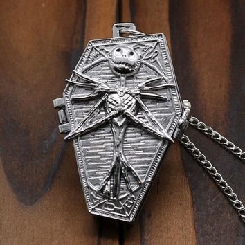 Sliver Color The Nightmare Before Christmas Coffin Bronze Pocket Watch With Necklace Chain for Men Women