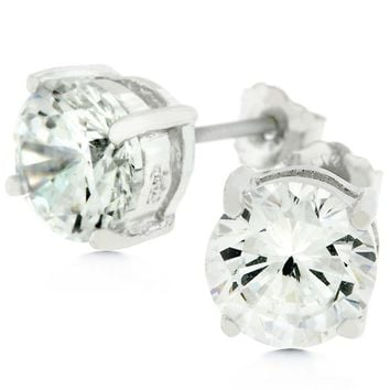 Clear Silver Round Studs 6.25 Earrings