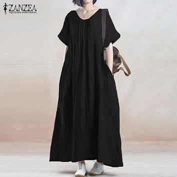 Summer Dress  ZANZEA Women Vintage Casual Loose Solid Long Maxi Dresses Short Sleeve O Neck Cotton Vestidos Plus Size