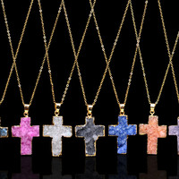 Kolye Colorful Christian Jesus Cross Natural Amethyst stone Pendant Necklace collier