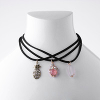 3Pcs/Set Punk Retro Women Lady Girls Velvet Pineapple Natural Stone Choker Pendant Necklaces Xmas Gift Statement Jewelry