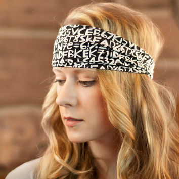 Wide Black Stretch Headband, Women's Hair Accessory, White Letters Print Hair Wrap, Boho Yoga Hair Accessory, Stretchy Fashion Headwrap