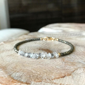Diamond Bracelet, Gold Diamond Bracelet, Herkimer Diamond Bracelet, Genuine Herkimer Diamond Bracelet, Gold Herkimer Diamond Bracelet