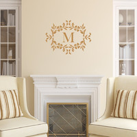 Monogram Wall Decal - Floral Frame Monogram Decal - Personalized Room Decor - Letter Wall Decal 22533