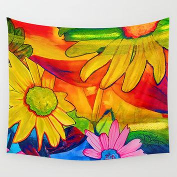 Psychedelic Daisies Wall Tapestry by Riet8995