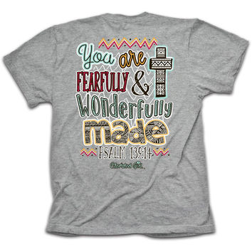 Cherished Girl Wonderfully Made Cross Aztec Christian Bright T Shirt